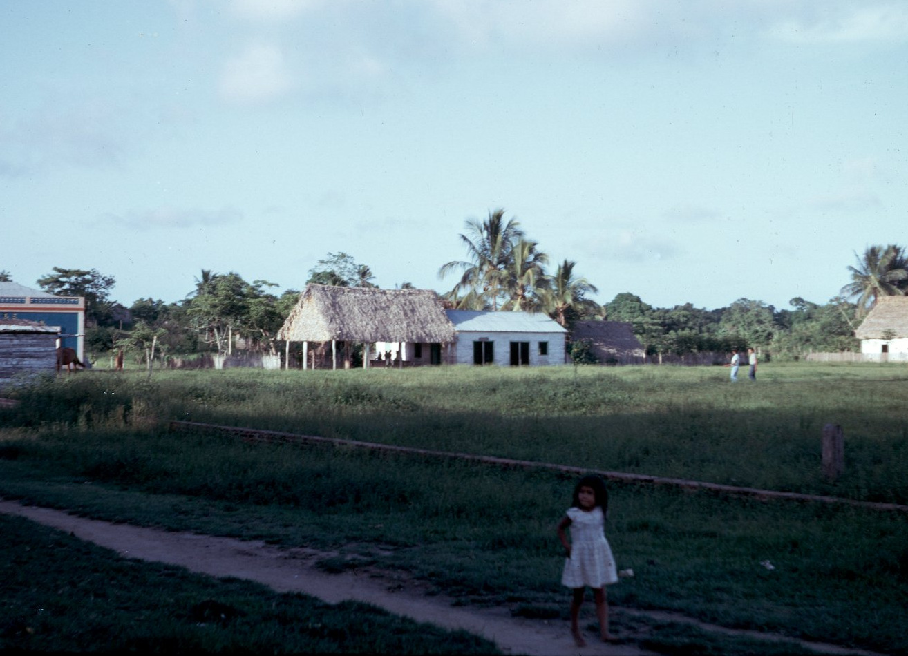 Plaza with agente municipal's office, 1968; view to NE