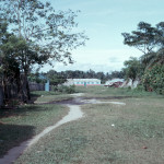 View from riverbank towards plaza, 1968. The school can be seen in the distance.